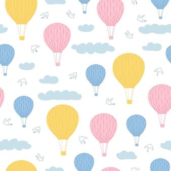 Modèle sans couture pour enfants avec illustration de ballons à air