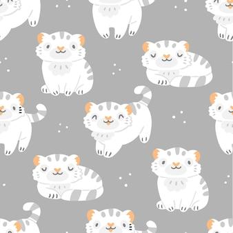 Modèle sans couture pour enfants avec de mignons petits tigres blancs et des points sur fond gris