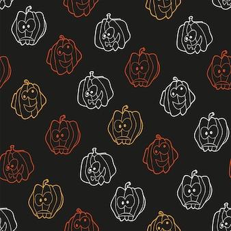 Modèle sans couture pour halloween avec des citrouilles - fond de vecteur.