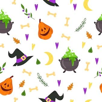 Modèle Sans Couture Pour Halloween. Texture Sans Fin Pour L'arrière-plan De La Page Web, Papier D'emballage, Cartes, Invitations. Vecteur Premium