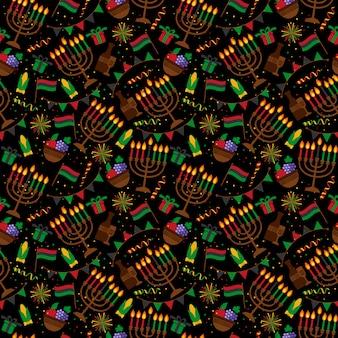 Modèle sans couture pour kwanzaa avec des bougies et des couleurs traditionnelles.