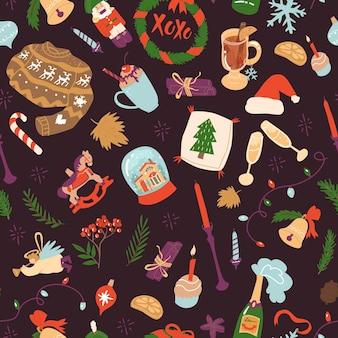 Modèle sans couture pour noël et nouvel an célébrant les choses des éléments de maison confortables de vacances