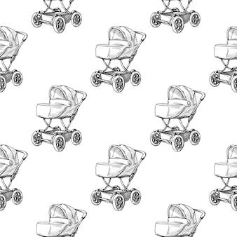 Modèle sans couture de poussette bébé landau