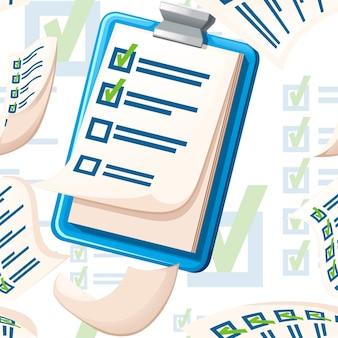 Modèle sans couture de presse-papiers avec illustration vectorielle plate de liste de contrôle sur fond blanc.