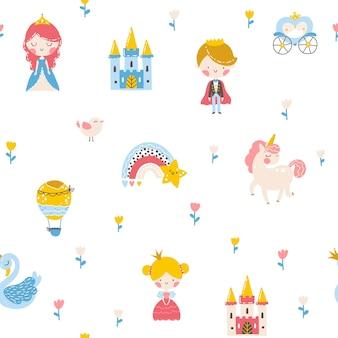 Modèle sans couture de princesse avec le château de cygne de licorne de prince et illustration d'arc-en-ciel