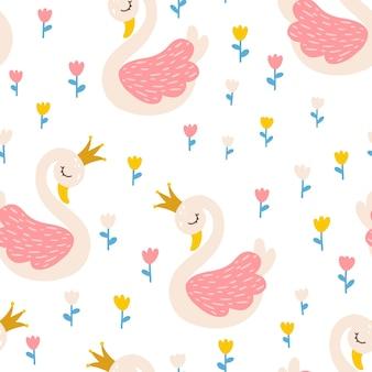 Modèle sans couture de princesse de cygne avec le conte de fées de fleurs de tulipes mignon
