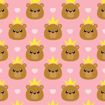 Modèle sans couture de princesse ours mignon