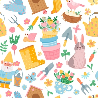 Modèle sans couture de printemps. éléments d'outils de jardin, pots de fleurs, légumes, lapin, gnome et nichoir. impression de vecteur plat de jardinage mignon. fond de printemps de modèle de jardinage