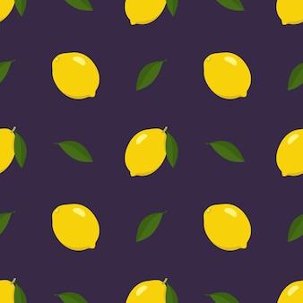 Modèle sans couture de printemps et d & # 39; été avec citron et tranches sur fond noir