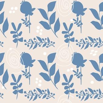 Modèle sans couture de printemps, de fleurs d'été et d'herbes. silhouette de fleurs sauvages.