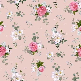 Modèle sans couture de printemps avec des fleurs, des plantes succulentes et des papillons