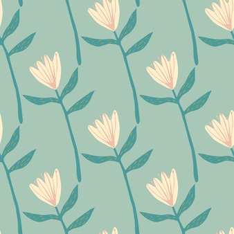 Modèle sans couture de printemps avec des formes de fleurs rose clair. fond turquoise doux. ornement botanique dessiné à la main. impression décorative pour papier peint, emballage, impression textile, tissu. illustration.