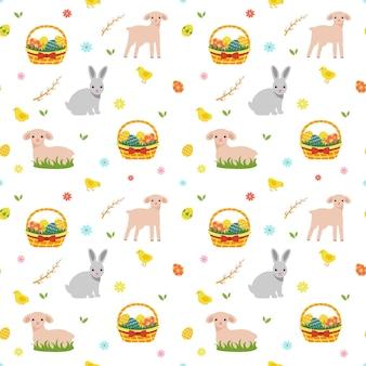 Modèle sans couture de printemps de pâques avec panier, moutons et oeufs.