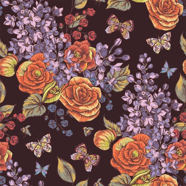 Modèle sans couture printemps vintage avec des fleurs épanouies de bégonia, lilas