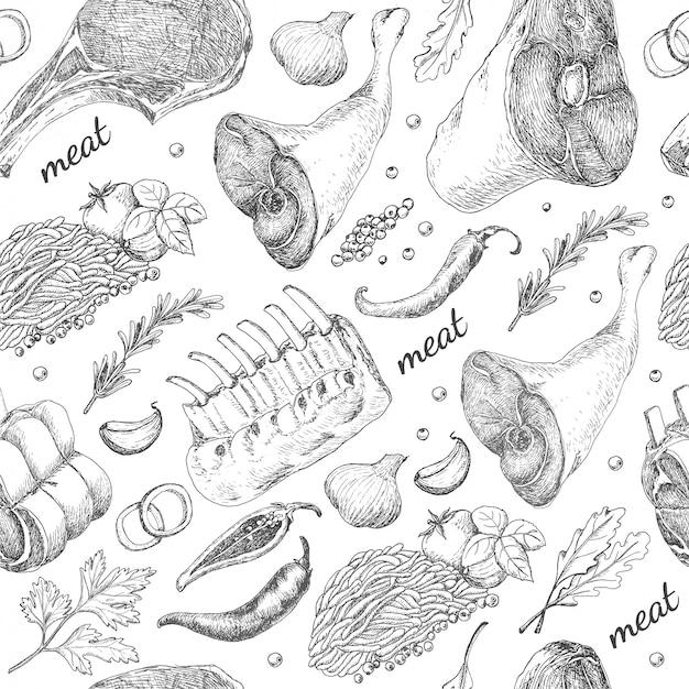 Modèle sans couture avec des produits à base de viande