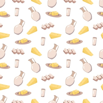 Modèle sans couture avec des produits laitiers
