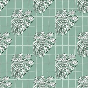 Modèle sans couture profilé contour vert avec impression de formes monstera doodle. fond à carreaux.