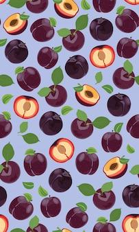 Modèle sans couture de prune violette