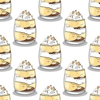 Modèle sans couture avec puddings vanille dessinés à la main