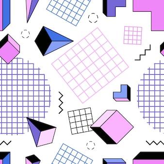Modèle sans couture avec pyramides roses, bleues et violettes, cubes, autres formes géométriques