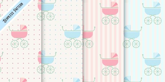 Modèle sans couture de quatre poussettes de bébé rose et bleu