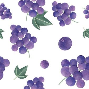 Modèle sans couture de raisin dessinée à la main