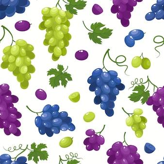 Modèle sans couture avec des raisins de dessin animé isolés sur blanc. baies de jus lumineux.