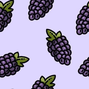Modèle sans couture de raisins dessin animé mignon style plat