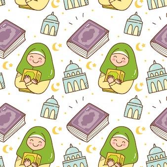 Modèle sans couture de ramadan doodle