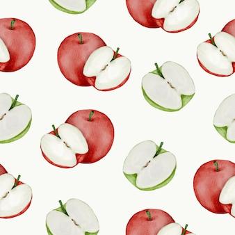 Modèle sans couture de rea et pomme verte, pleine et demi
