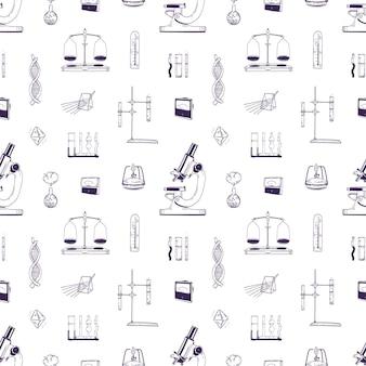 Modèle sans couture réaliste avec des équipements de laboratoire de chimie et de physique dessinés à la main avec des lignes sur fond blanc. toile de fond avec des outils de mesure pour la recherche scientifique. illustration vectorielle.