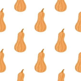 Modèle sans couture de récolte automne isolé avec ornement de citrouille orange.