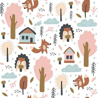 Modèle sans couture avec renard, hérissons, feuilles d'automne et arbres.
