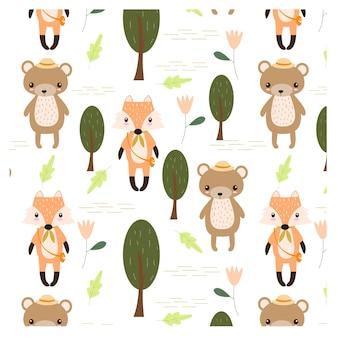 Modèle sans couture renard et ours