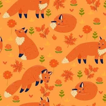 Modèle sans couture avec les renards d'automne. graphiques vectoriels.