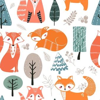 Modèle sans couture avec des renards et différents éléments. illustration dessinée à la main dans un style scandinave