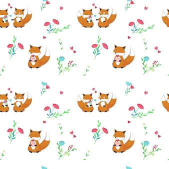 Modèle sans couture avec des renards mignons amoureux