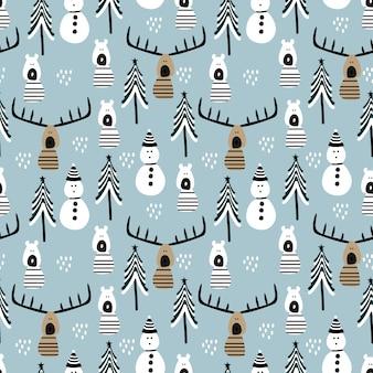 Modèle sans couture renne et bonhomme de neige pour les vacances de noël