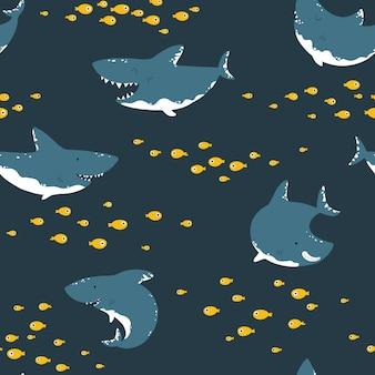 Modèle sans couture de requin childish