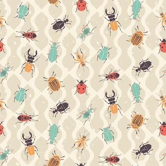 Modèle sans couture rétro bugs et coléoptères