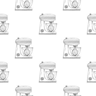 Modèle sans couture. robot culinaire sur fond blanc. illustrations en style croquis