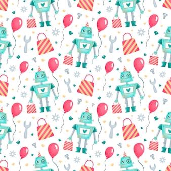 Modèle sans couture de robots anniversaire dessin animé mignon