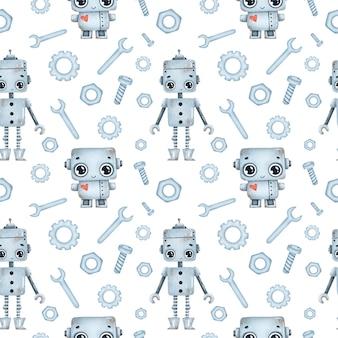Modèle sans couture de robots dessin animé mignon