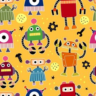 Modèle sans couture avec des robots de dessin animé
