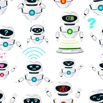 Modèle sans couture de robots en lévitation modernes blancs mignons effectuent différentes tâches illustration vectorielle à plat sur fond blanc.