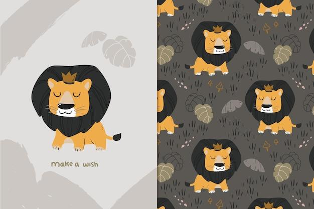 Modèle sans couture de roi lion mignon