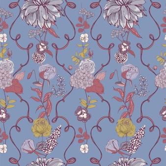 Modèle sans couture romantique avec de belles fleurs épanouies et vignettes de ruban