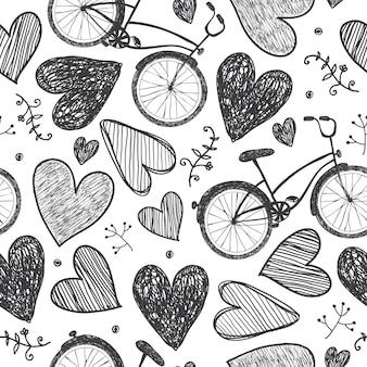 Modèle sans couture romantique dessiné à la main de vecteur. vélos, coeurs doodle style, fond vintage noir et blanc. mariage, saint valentin, amour