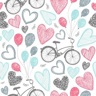 Modèle sans couture romantique dessiné à la main de vecteur. vélos, coeurs doodle style, fond vintage noir et blanc. mariage, saint valentin