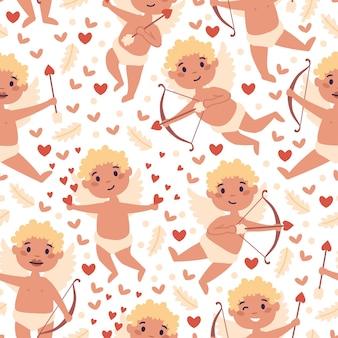 Modèle sans couture romantique saint valentin avec mignon cupidon et coeurs